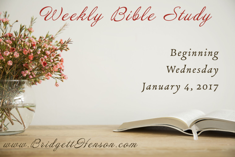 Weekly Bible study beginning Wednesday January 4, 2017